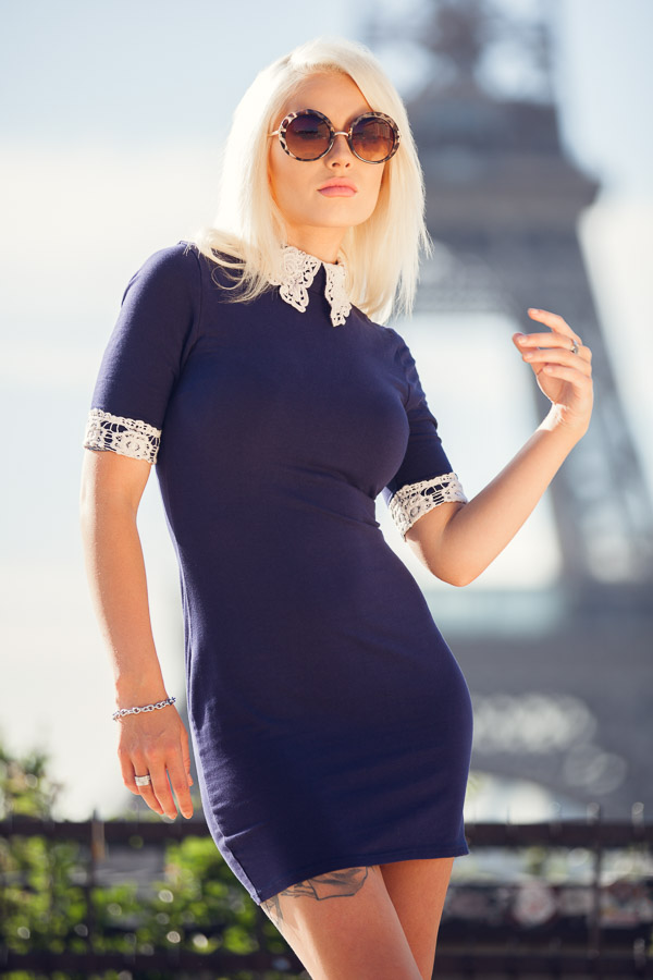 Romanie and the Eiffel Tower as a stunning backdrop