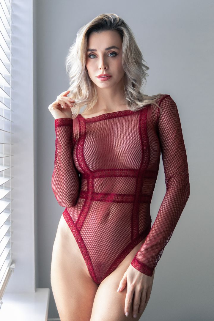 Domini - Red Bodysuit in The Window